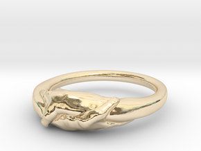 Rome Handshake Size(US)-5 (15.7 MM) in 14k Gold Plated Brass