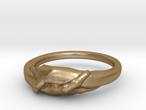 Rome Handshake Ring Size(US)-10 (19.84 MM) in Polished Gold Steel