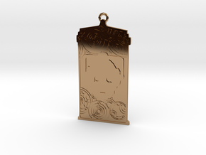 TARDIS Pendant with Cyberman in Polished Brass
