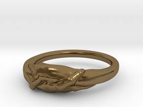 Rome Handshake Ring Size(US)-11 (20.68 MM) in Polished Bronze