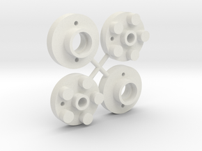Wheel adapters- Mini Mag to Tamiya Buggy in White Strong & Flexible