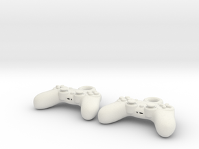 PS4 Controller Earrings  in White Natural Versatile Plastic