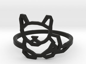 Petite Cat Ring in Black Natural Versatile Plastic: 8 / 56.75