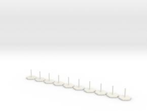 10x Hexagon Stand 1 Inch / pole diameter 0,1  in White Natural Versatile Plastic