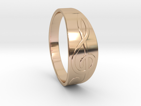 Size 11 M G-Clef Ring  in 14k Rose Gold Plated Brass