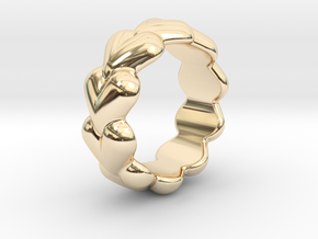 Heart Ring 25 - Italian Size 25 in 14k Gold Plated Brass