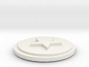 Star coin 26x26mm in White Natural Versatile Plastic