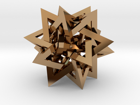 Tetrahedron 5 Compound in Polished Brass