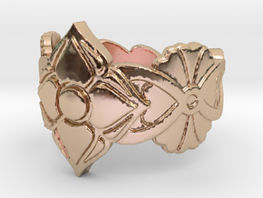 Floral Ring Size 7 in 14k Rose Gold Plated Brass