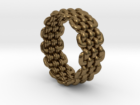 Wicker Pattern Ring Size 5 in Natural Bronze