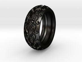 Sharon Ray - Tire Ring in Matte Black Steel: 9 / 59
