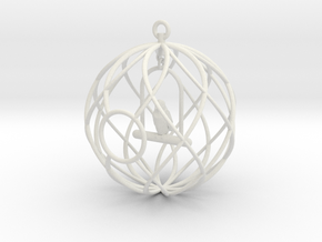 Birdcage Ornament in White Natural Versatile Plastic