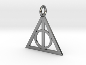 Deathly Hallows Triangle Pendant in Fine Detail Polished Silver