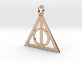 Deathly Hallows Triangle Pendant in 14k Rose Gold Plated Brass