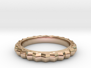 Geometric pattern ring(Japan 10,USA 5.5,Britain K) in 14k Rose Gold Plated