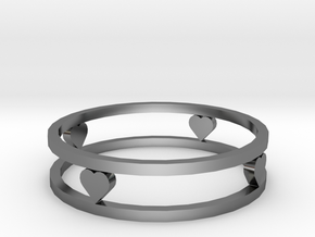 Love ring (19 mm diameter) in Fine Detail Polished Silver
