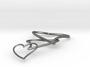 Cuore Triplo in Fine Detail Polished Silver