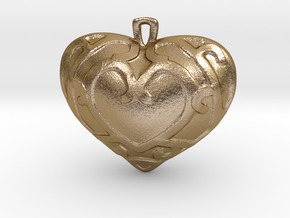 Heart Container Pendant in Polished Gold Steel