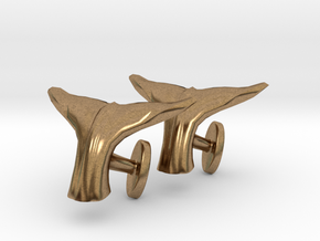 Whale tail cufflinks in Natural Brass