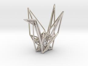 Origami Crane Wireframe in Rhodium Plated Brass