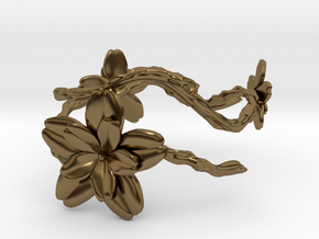 Flower Bracelet in Polished Bronze