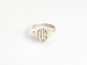 Size 10.5 With Adj Initials 1 in Polished Silver