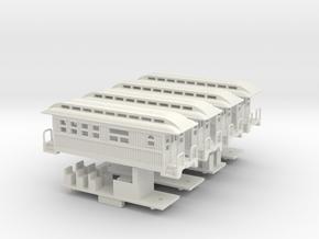 Z Scale Overton Passenger Cars in White Natural Versatile Plastic