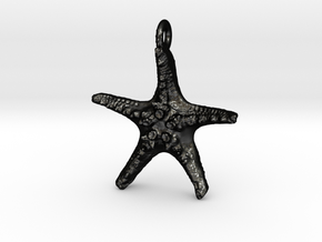 Starfish Pendant 1 - small in Matte Black Steel