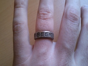 """NEED FOR BEER"" Ring in Stainless Steel: 9.5 / 60.25"