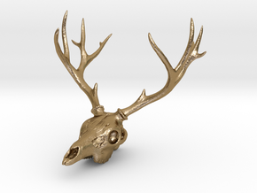 Deer Skull Pendant - 3DKitbash.com in Polished Gold Steel