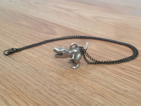 T. Rex Necklace Pendant in Polished Bronzed Silver Steel