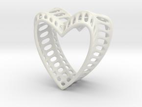 Bony Heart in White Natural Versatile Plastic