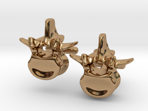 Lumbar Vertebra Cufflinks - Uninscribed in Polished Brass