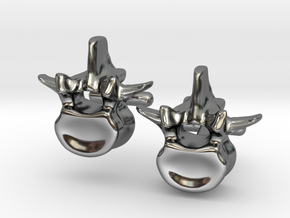 Lumbar Vertebra Cufflinks - Uninscribed in Fine Detail Polished Silver
