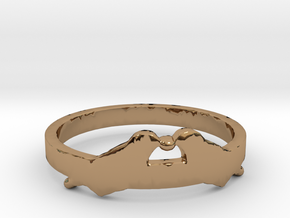 Love Birds Ring Size 7.5 in Polished Brass