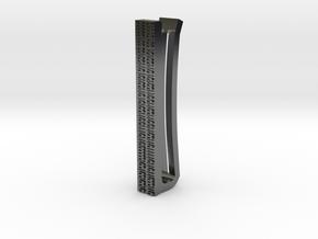 Binary Tie Bar 4cm in Fine Detail Polished Silver