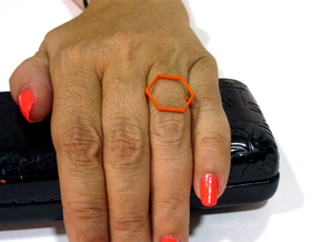Hexagon ring shape. in Orange Processed Versatile Plastic