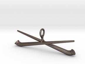 two crossed Alphorn in Polished Bronzed Silver Steel