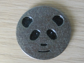 Panda coin - with no patterning in Stainless Steel