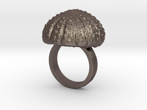 Urchin Statement Ring - US-Size 7 (17.35 mm) in Polished Bronzed Silver Steel