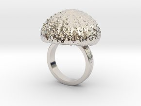 Urchin Statement Ring - US-Size 7 (17.35 mm) in Rhodium Plated Brass