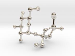 Sucrose (Sugar) BIG Molecule Necklace in Rhodium Plated Brass