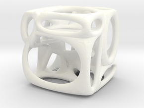 Voronoi Cube (002) in White Strong & Flexible Polished