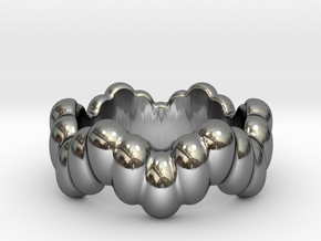 Biological Ring 17 - Italian Size 17 in Fine Detail Polished Silver