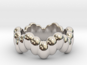 Biological Ring 22 - Italian Size 22 in Rhodium Plated Brass