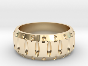 Mens cutout wedding band in 14k Gold Plated Brass