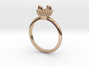 Bead Ball Mount Engagement Ring in 14k Rose Gold