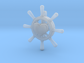 Heart Is True Ship Wheel Pendant in Smooth Fine Detail Plastic