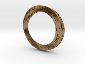 "Mobius ring ""I Love You Forever"" Size 12 in Natural Brass"