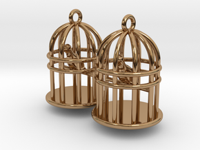 Bird Cage Earrings in Polished Brass